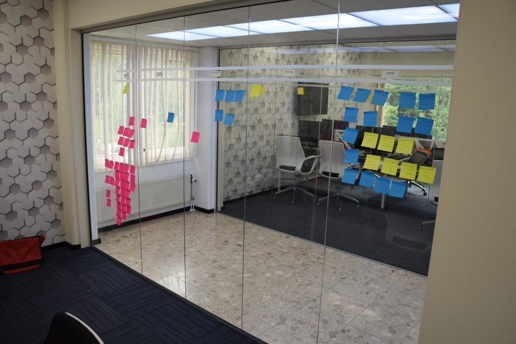 Scrum board bij de IT afdeling