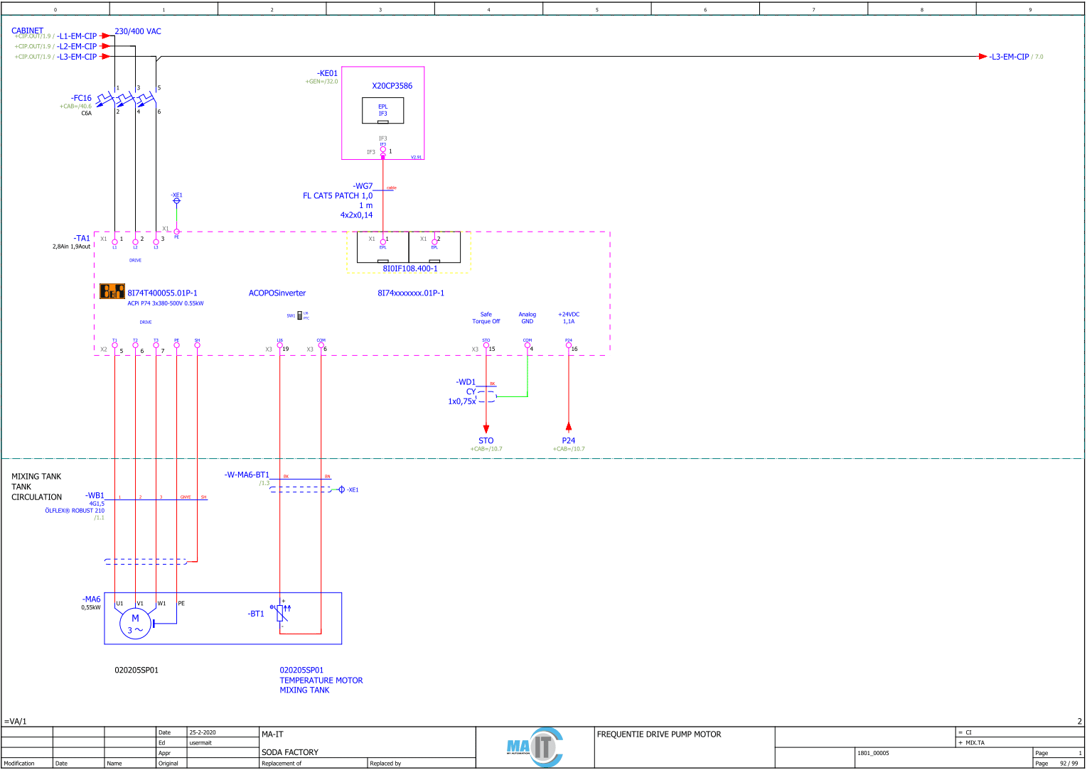 Voorbeeld van een electrotechnisch schema